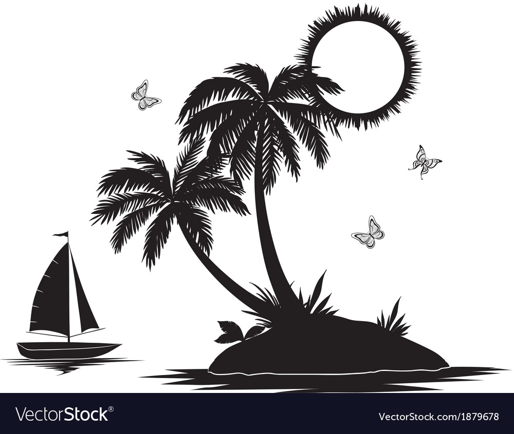 Island with palm and ship silhouettes vector | Price: 1 Credit (USD $1)