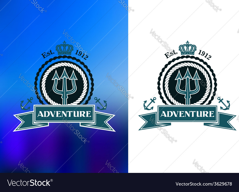 Nautical heraldic emblem with trident vector | Price: 1 Credit (USD $1)