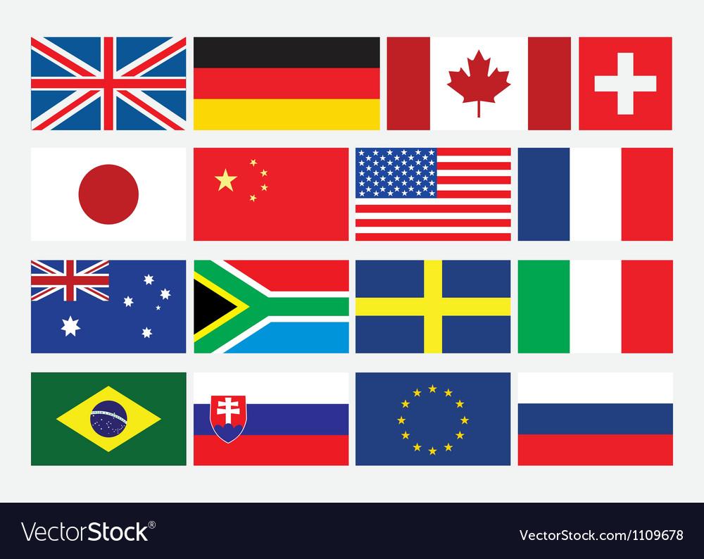 Popular flat flags vector | Price: 1 Credit (USD $1)