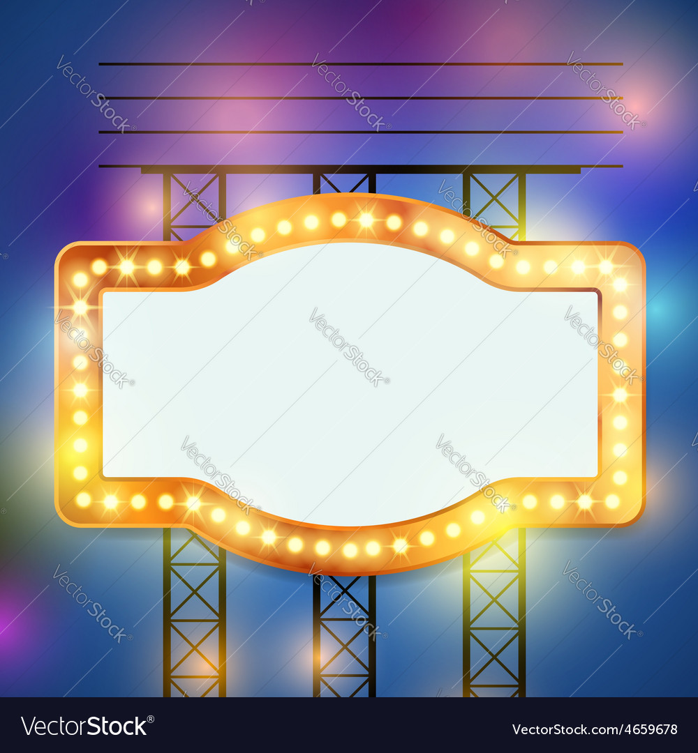 Retro bulb circus cinema light sign template vector | Price: 1 Credit (USD $1)