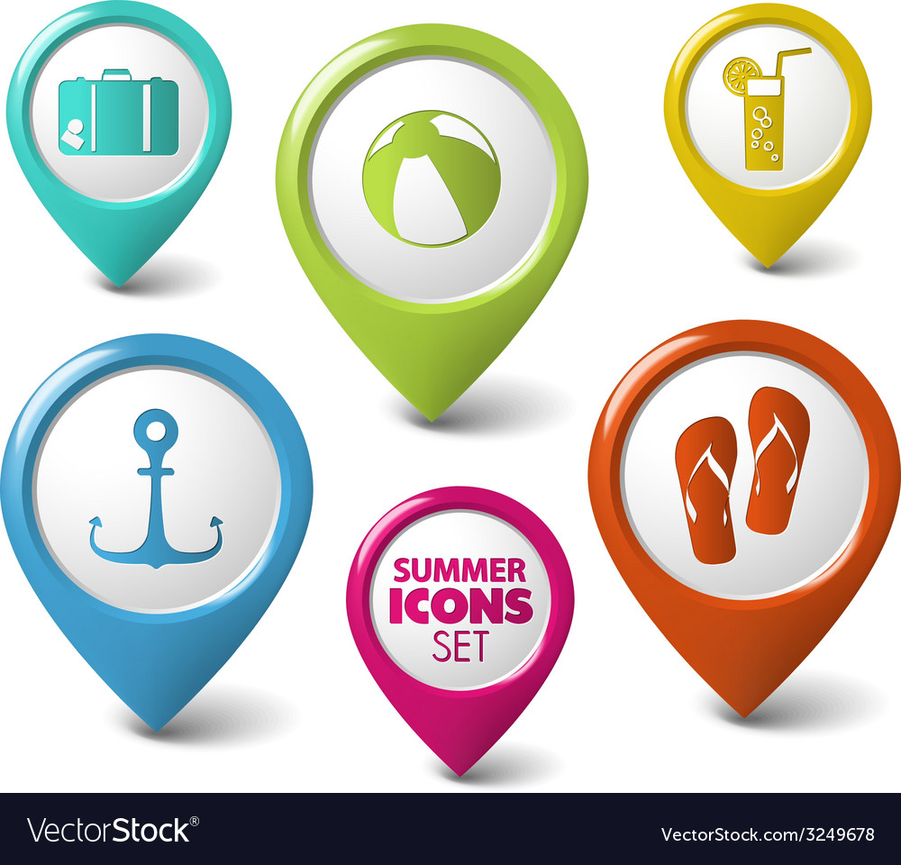 Set of summer round 3d pointers vector | Price: 1 Credit (USD $1)