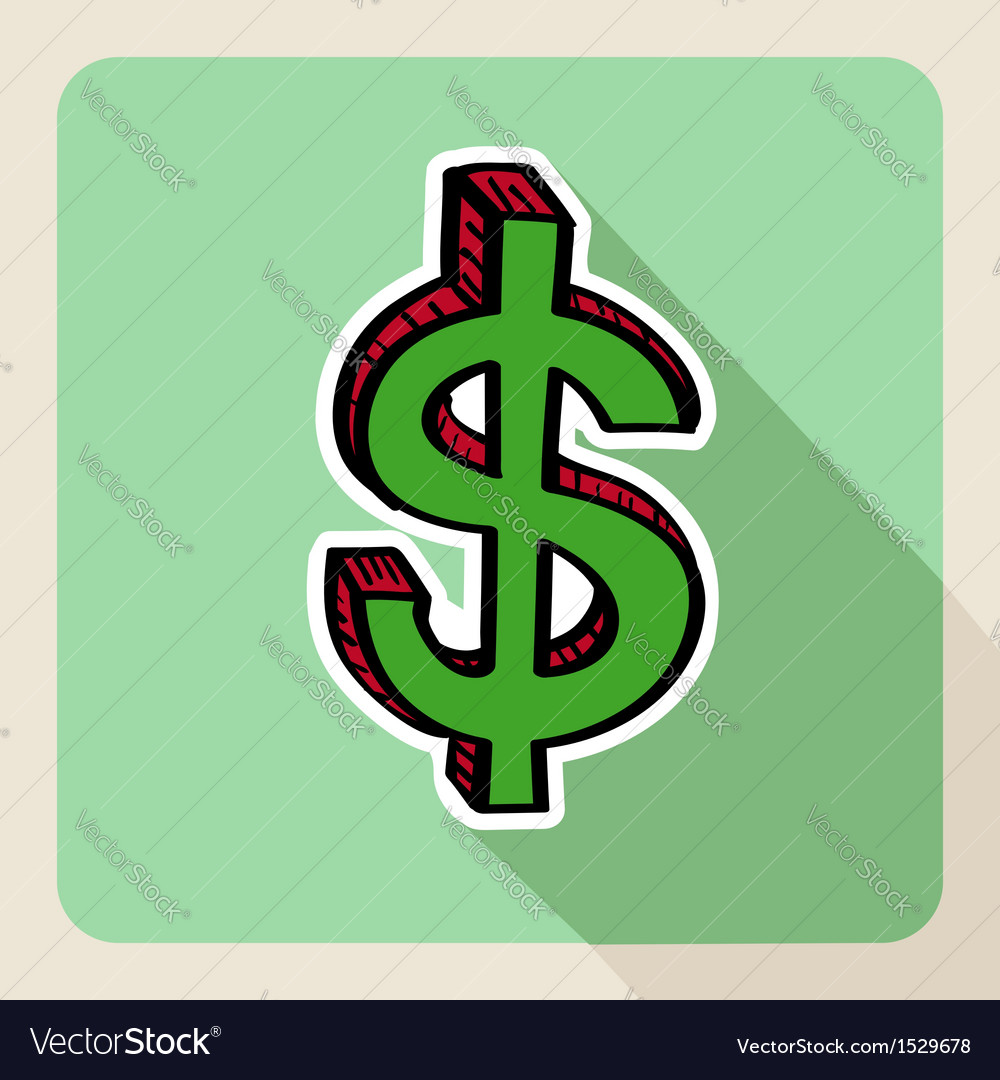 Sketch style green money symbol vector | Price: 1 Credit (USD $1)