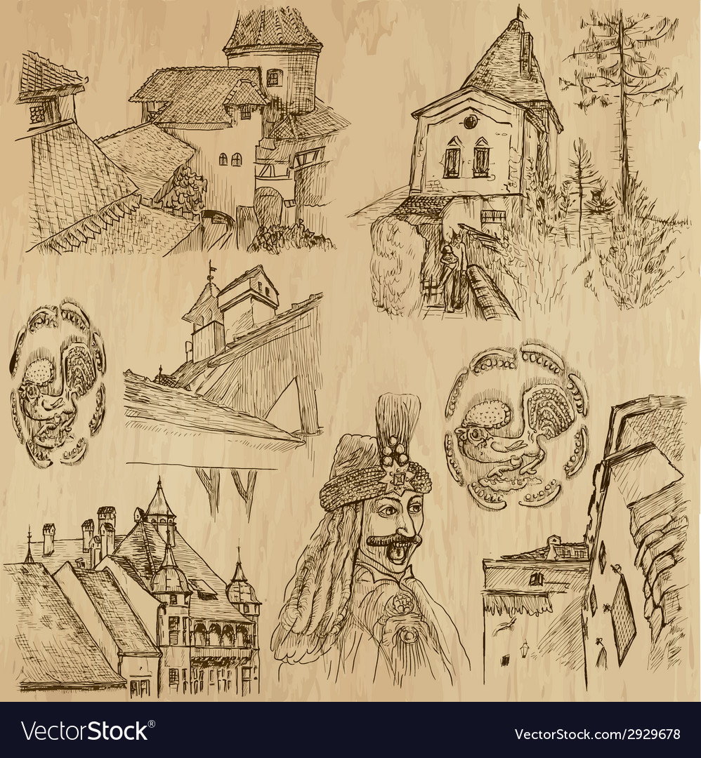 Traveling romania - an hand drawn pack vector   Price: 1 Credit (USD $1)