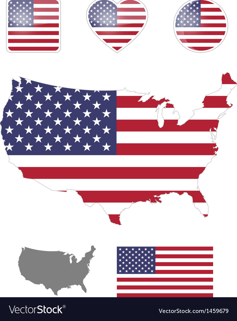 American flag and icons vector | Price: 1 Credit (USD $1)