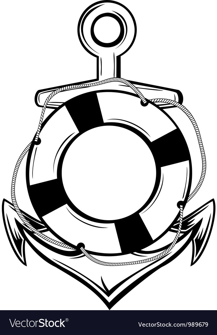 Anchor and ring buoy vector