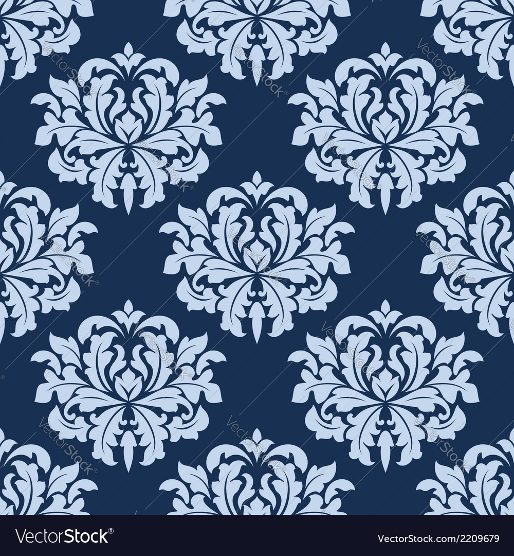Blue seamless damask pattern vector | Price: 1 Credit (USD $1)