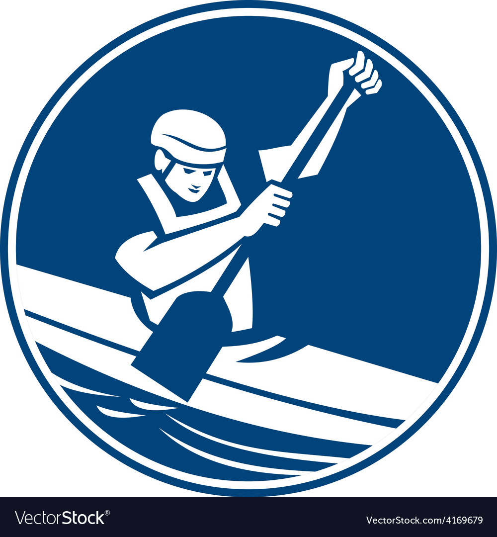 Canoe slalom circle icon vector | Price: 1 Credit (USD $1)