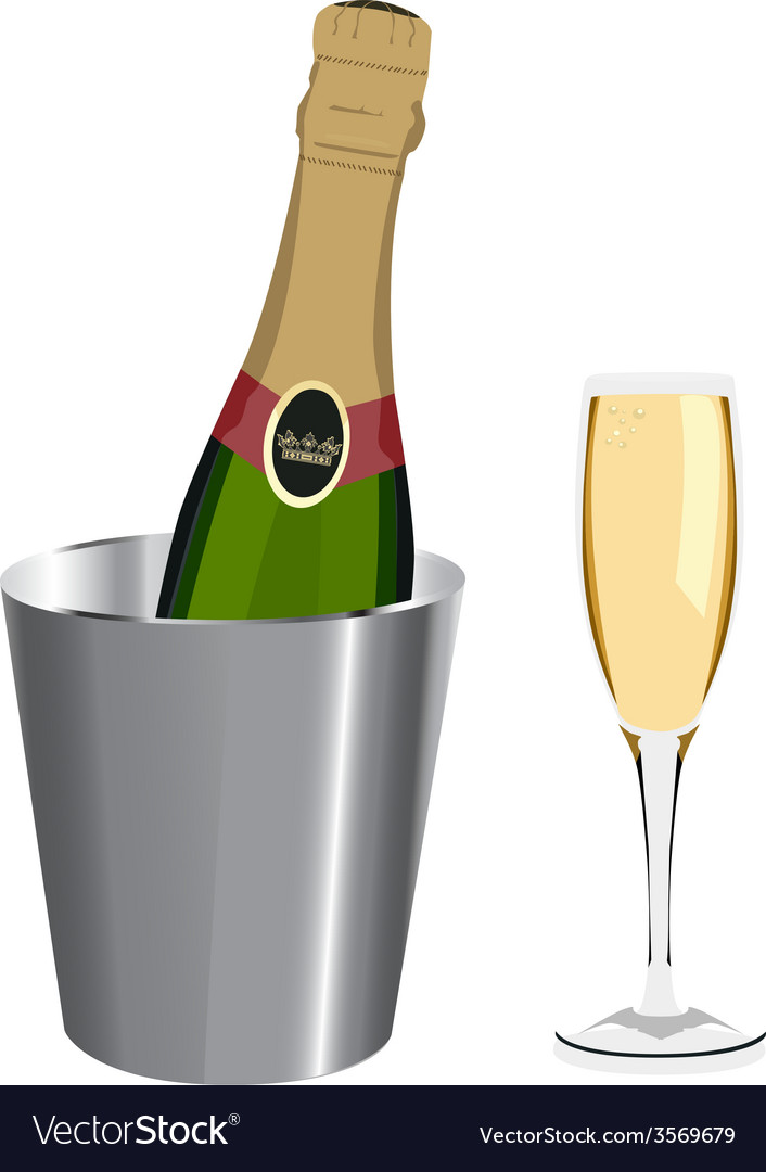 Champagne bottle and glass vector | Price: 1 Credit (USD $1)