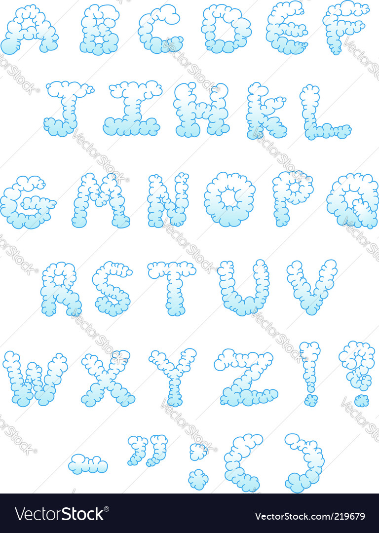 Cloud letters vector