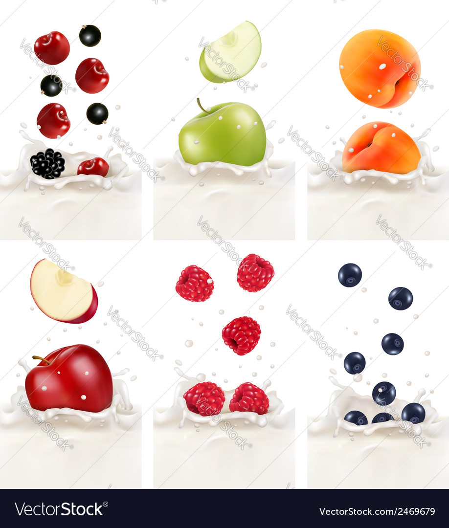Colorful fresh fruits falling into the milky vector | Price: 1 Credit (USD $1)