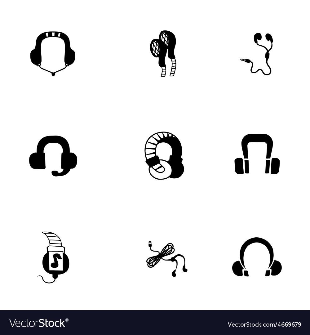 Headphone icon set vector   Price: 1 Credit (USD $1)