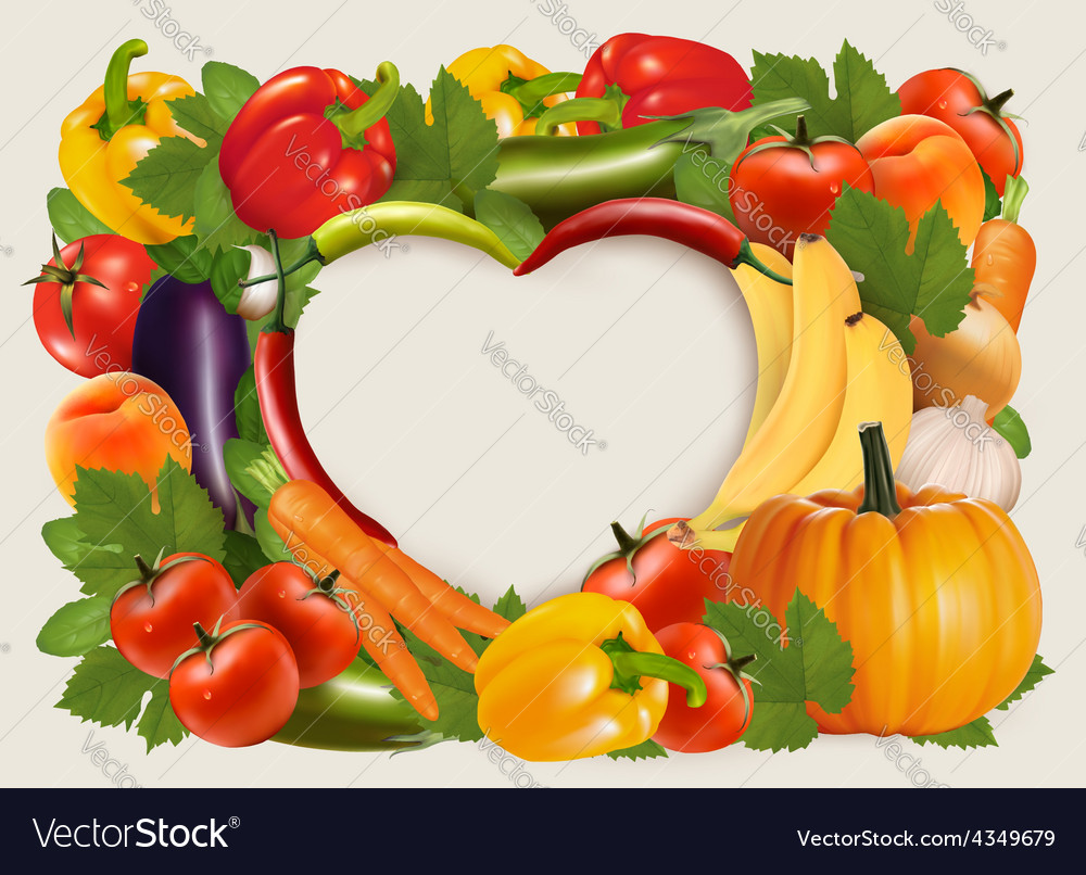 Heart shaped background made of vegetables and vector | Price: 3 Credit (USD $3)