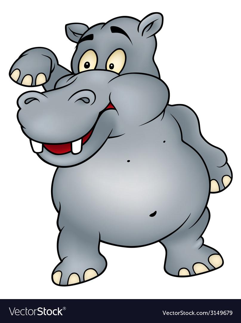 Hippo waving goodbye vector | Price: 1 Credit (USD $1)