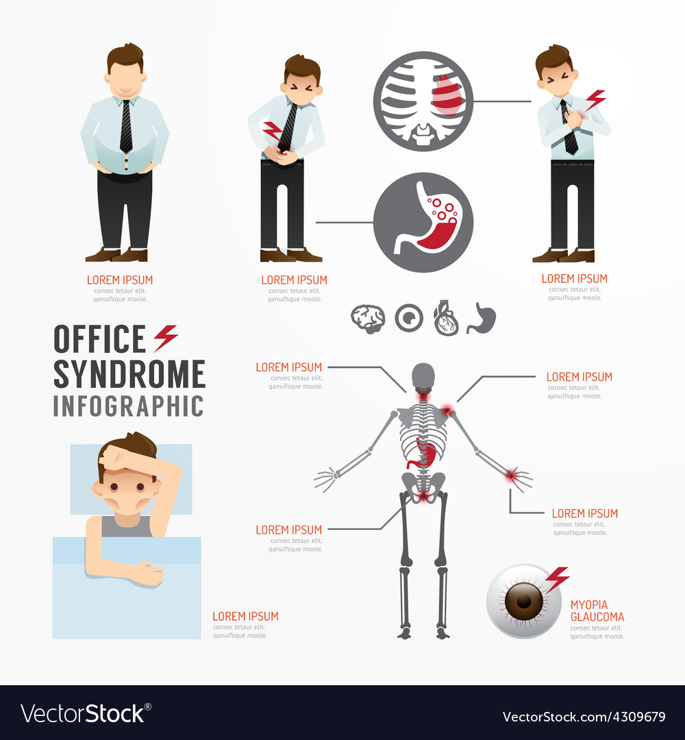 Infographic office syndrome template design vector | Price: 1 Credit (USD $1)