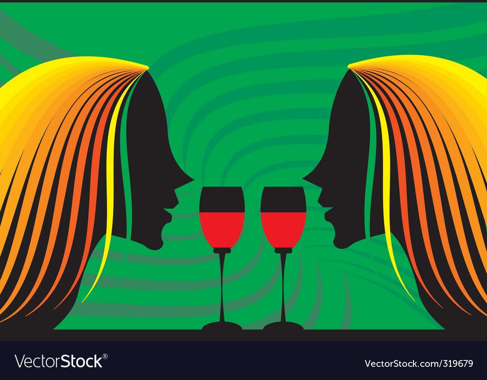 Ladies and wine vector | Price: 1 Credit (USD $1)