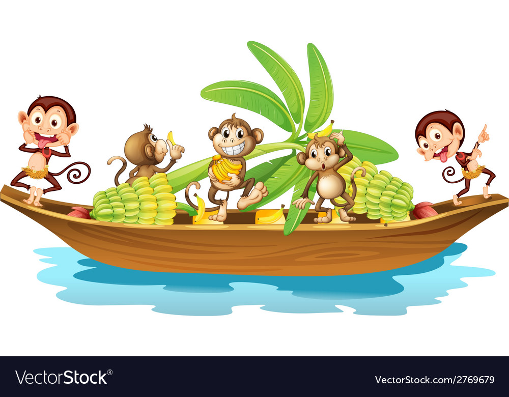 Monkey on boat vector | Price: 1 Credit (USD $1)
