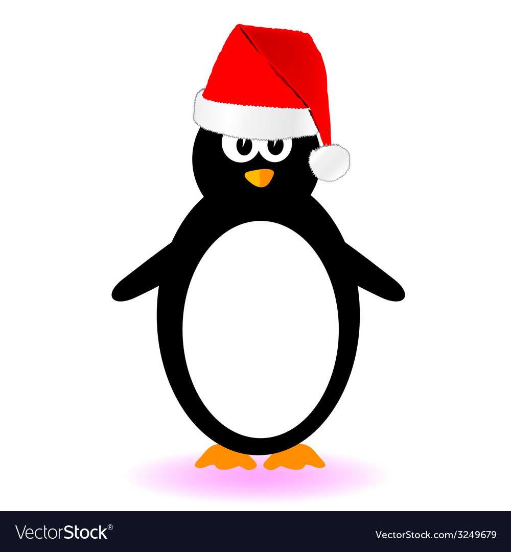 Penguin with red hat vector | Price: 1 Credit (USD $1)