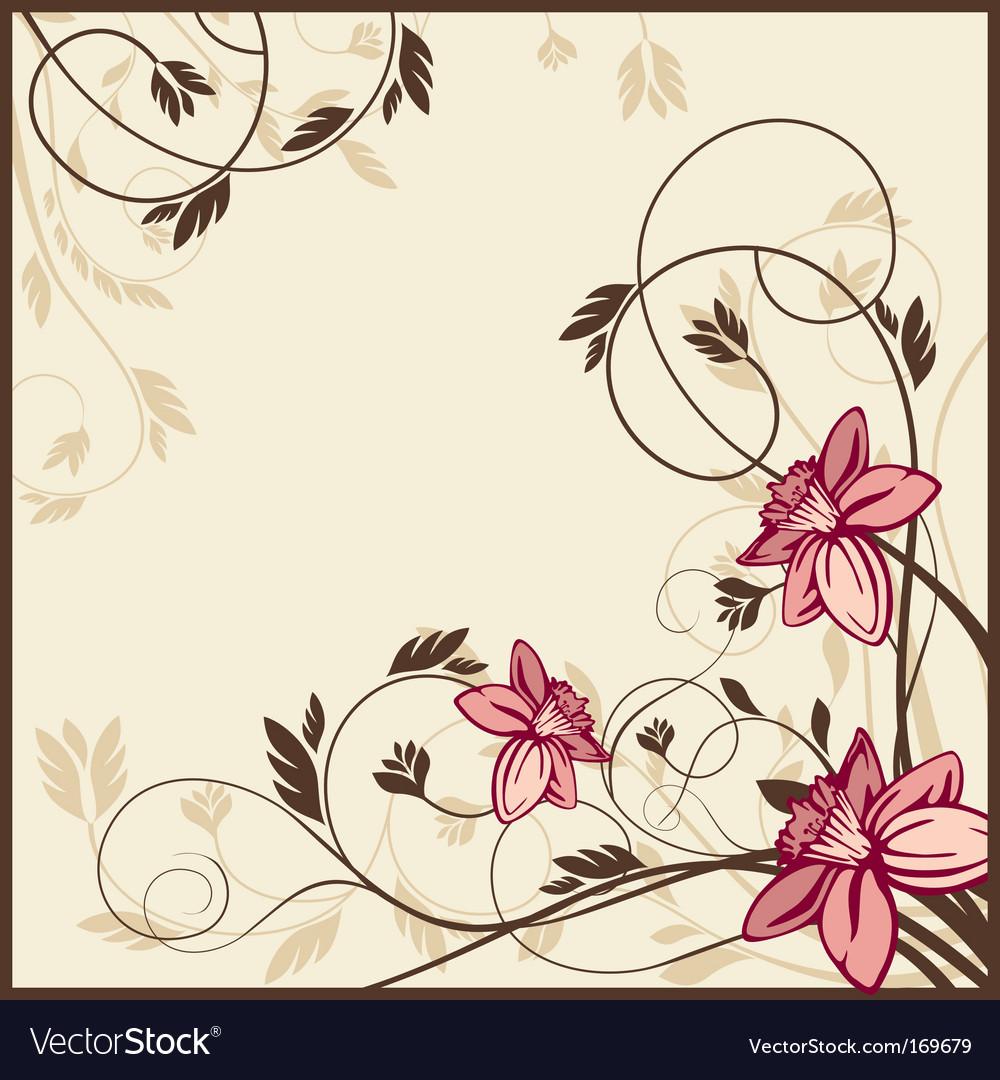 Retro floral card vector | Price: 1 Credit (USD $1)