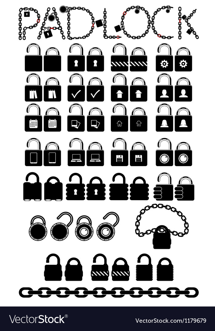Set web icons pudlock chain links vector | Price: 1 Credit (USD $1)