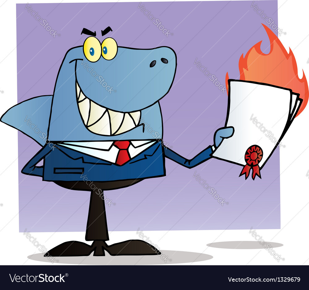 Shark businessman holding a flaming bad contract vector | Price: 1 Credit (USD $1)