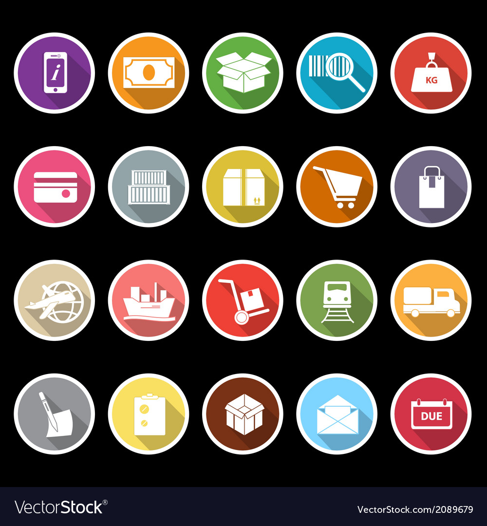 Shipment icons with long shadow vector | Price: 1 Credit (USD $1)