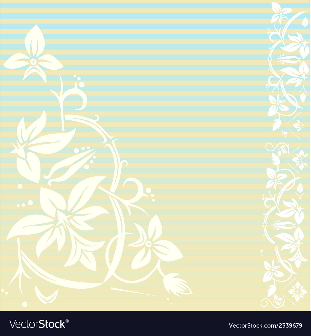 Vintage floral background with stripes vector | Price: 1 Credit (USD $1)