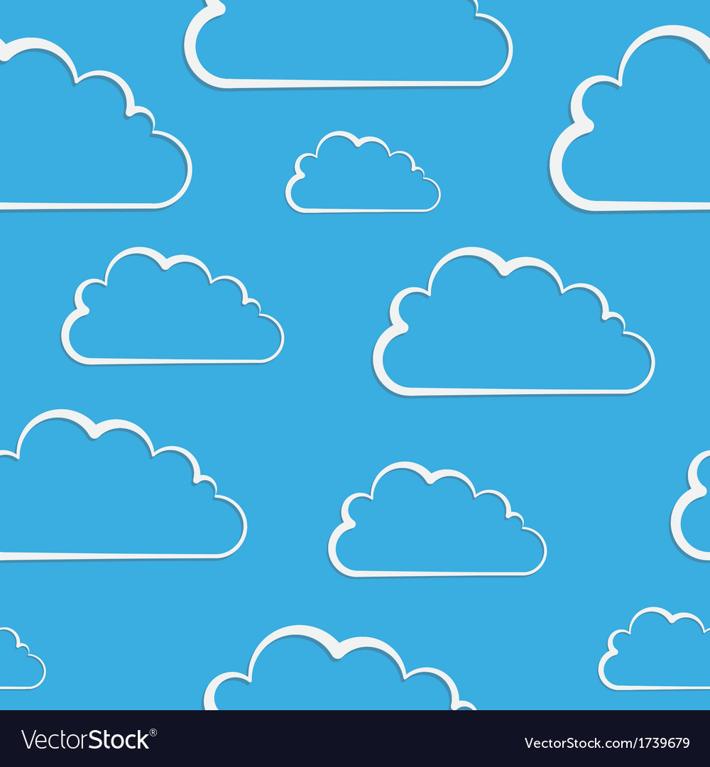 White clouds on blue seamless pattern vector | Price: 1 Credit (USD $1)