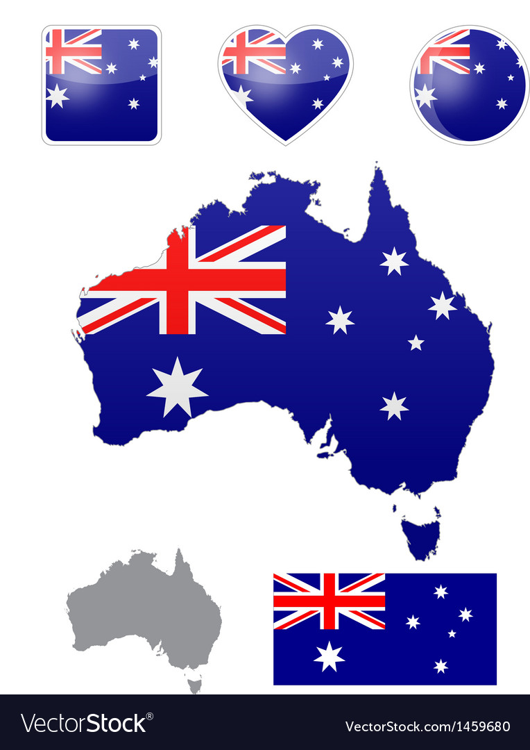 Australian flag and icons vector | Price: 1 Credit (USD $1)