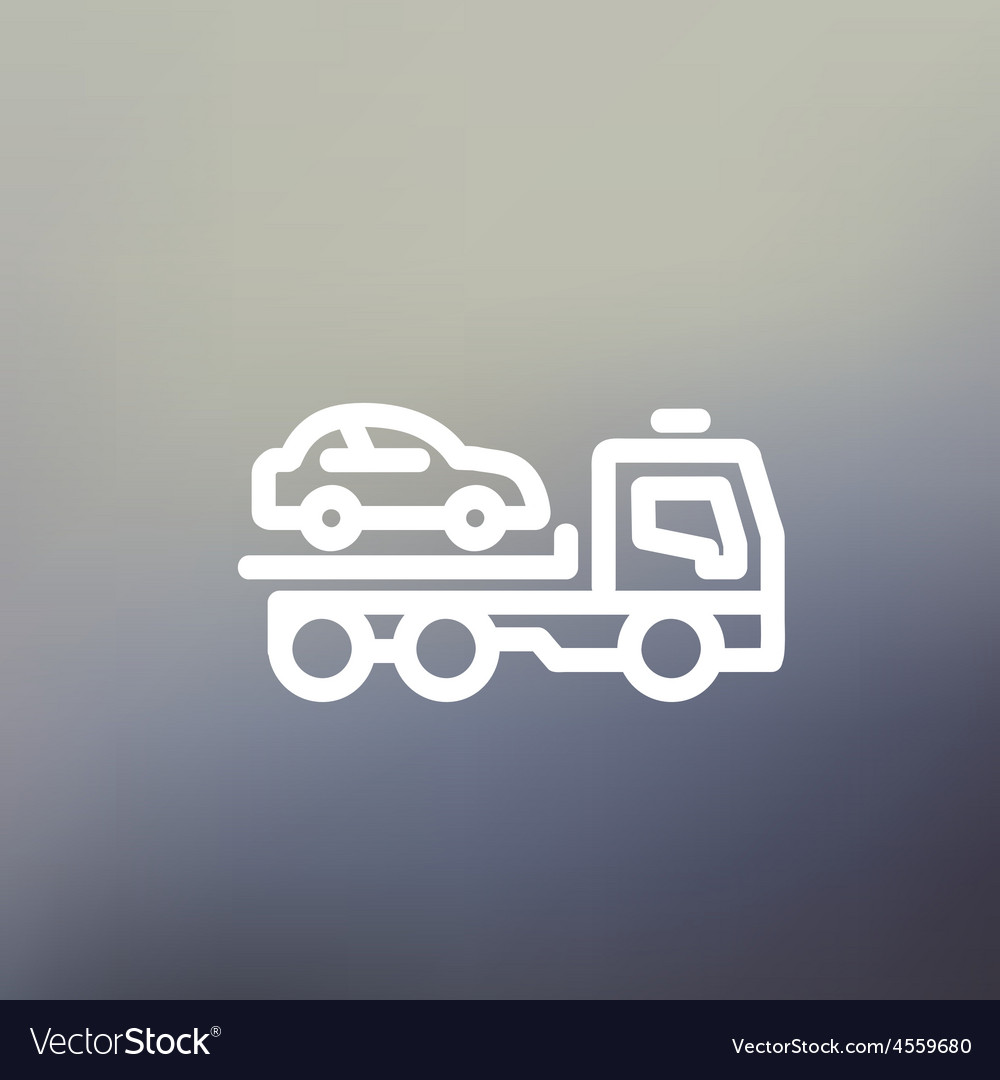Car towing truck thin line icon vector | Price: 1 Credit (USD $1)