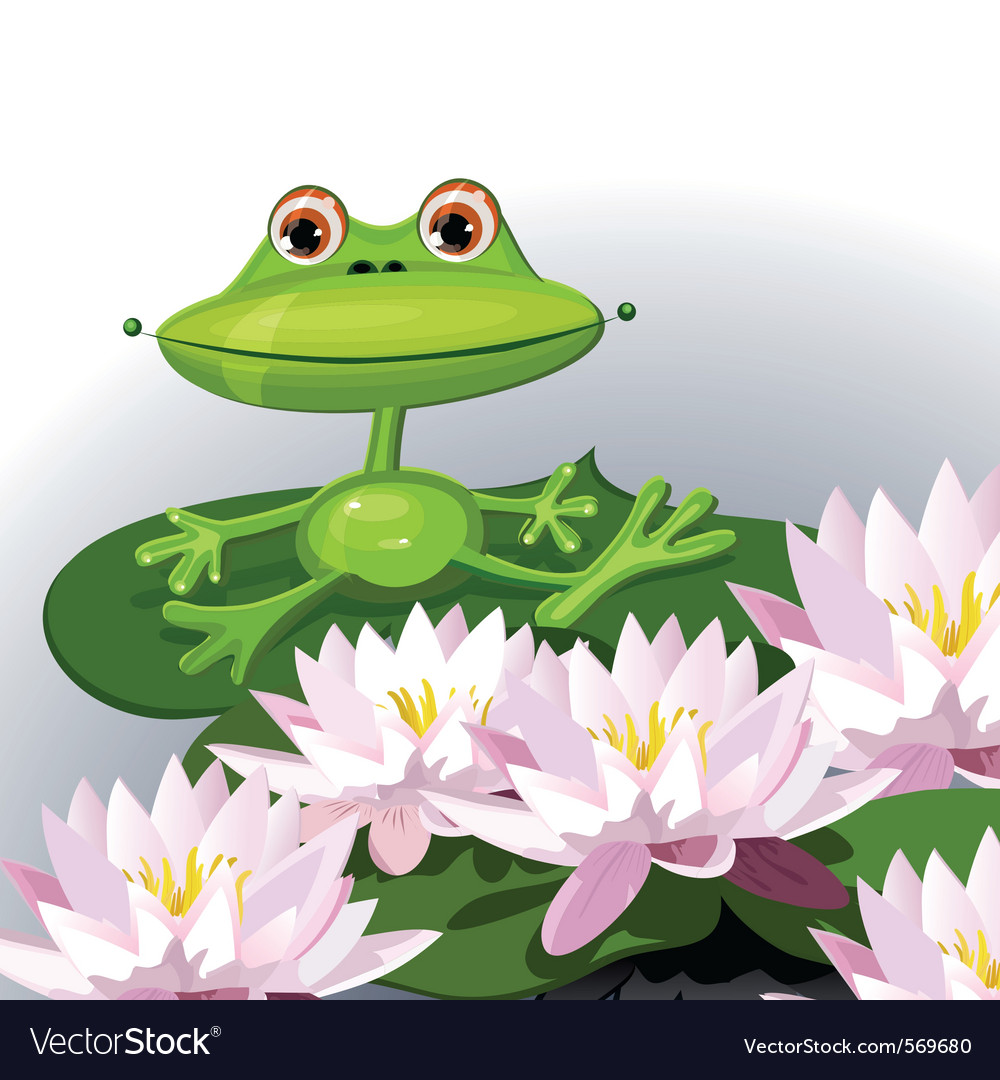 Cartoon frog and water lilies vector | Price: 1 Credit (USD $1)