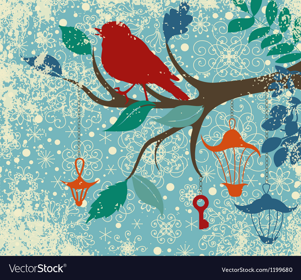 Christmas background of tree branch with bird and vector | Price: 1 Credit (USD $1)