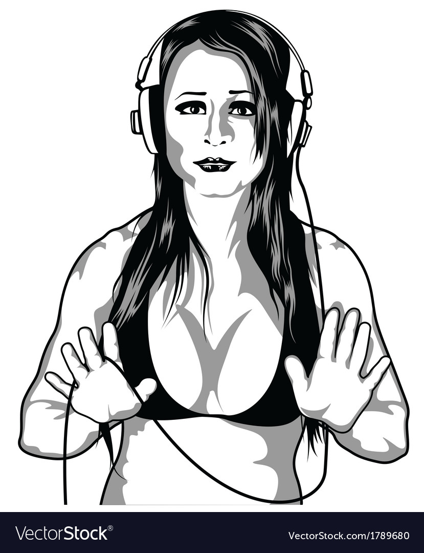 Girl with headphones vector | Price: 1 Credit (USD $1)