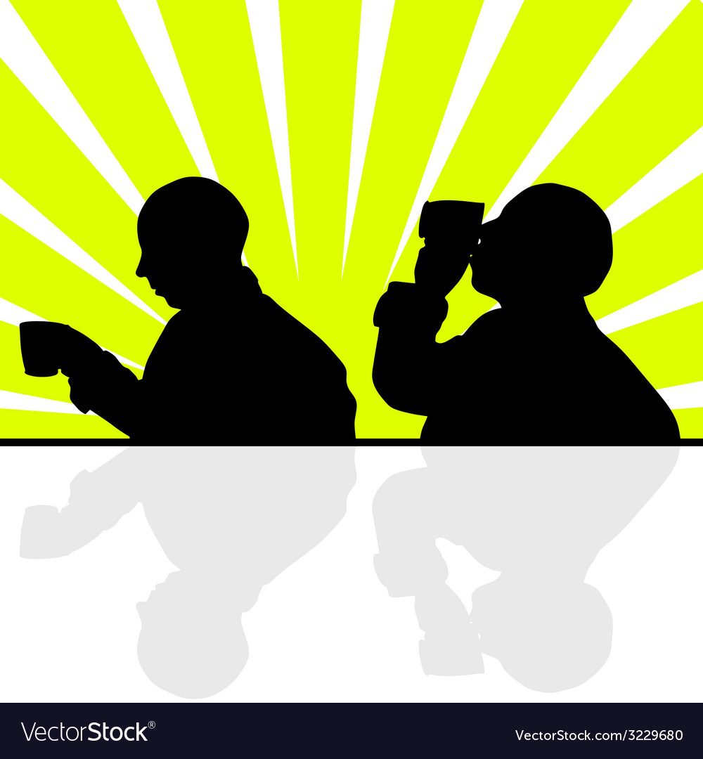 Man drinking from a cup silhouette vector | Price: 1 Credit (USD $1)