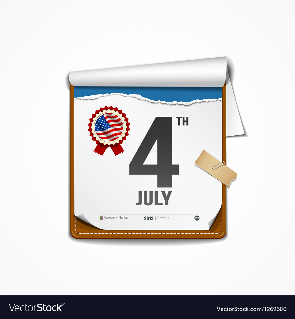 Paper calender independence day american vector | Price: 3 Credit (USD $3)