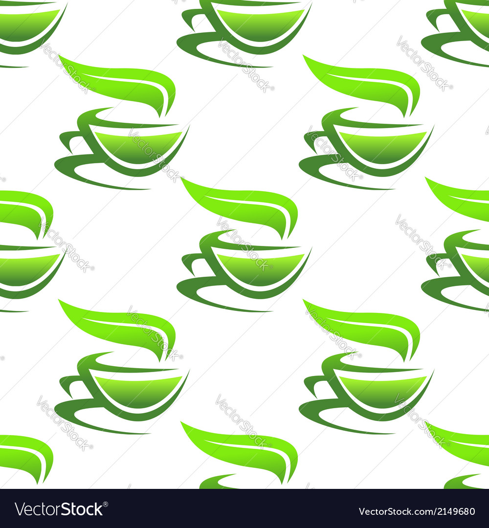 Steaming cups of green tea vector   Price: 1 Credit (USD $1)