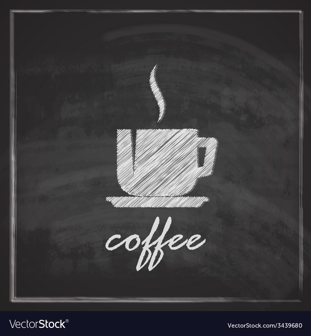 Vintage with coffee cup on blackboard background vector | Price: 1 Credit (USD $1)