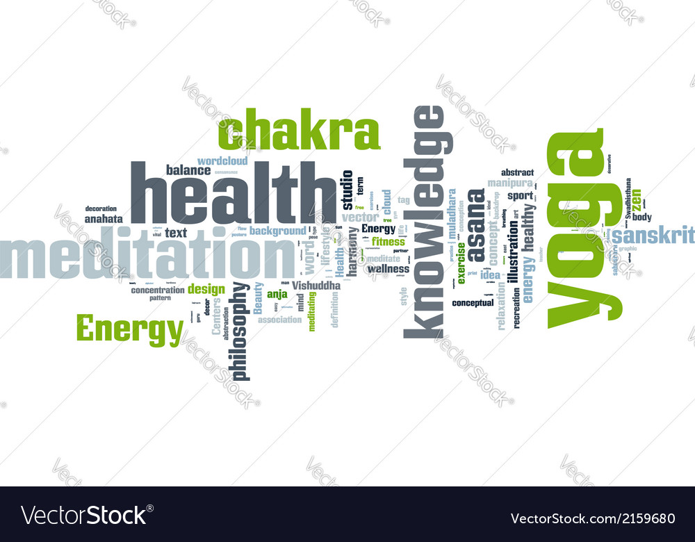 Yoga word collage on white background vector | Price: 1 Credit (USD $1)