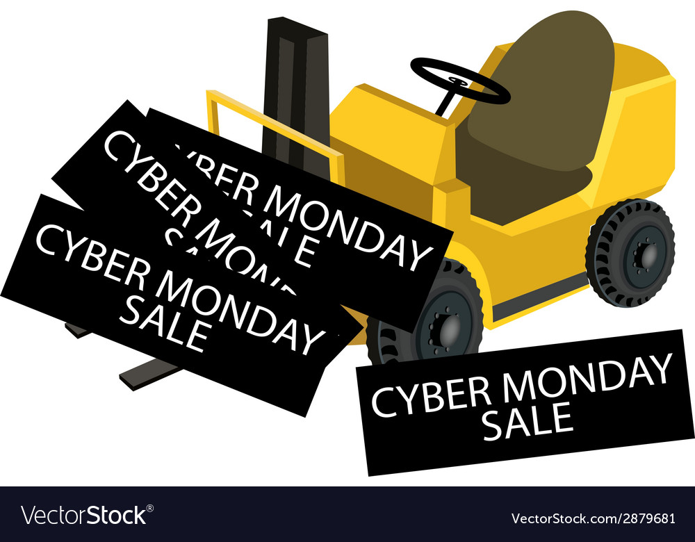 A forklift truck loading cyber monday card vector | Price: 1 Credit (USD $1)