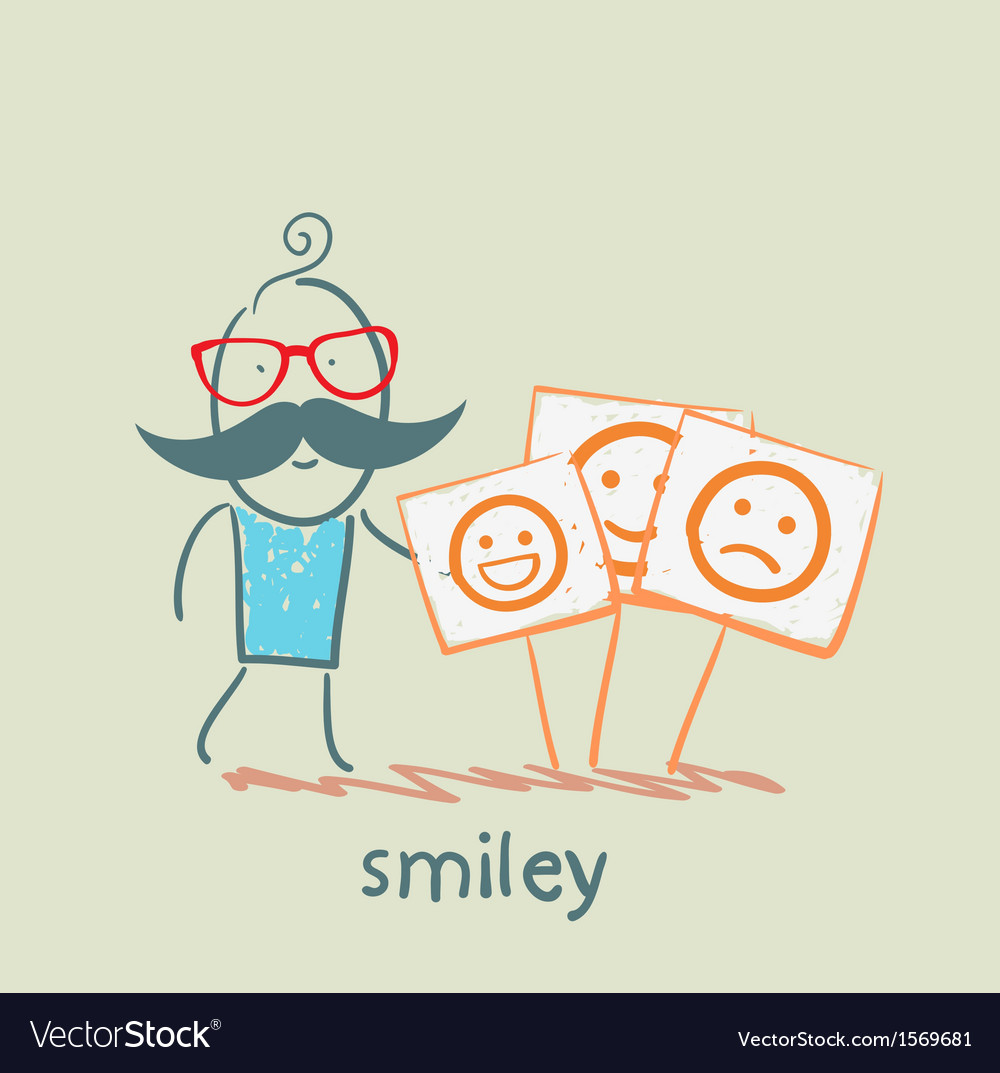 A man stands next to posters with smiles vector | Price: 1 Credit (USD $1)