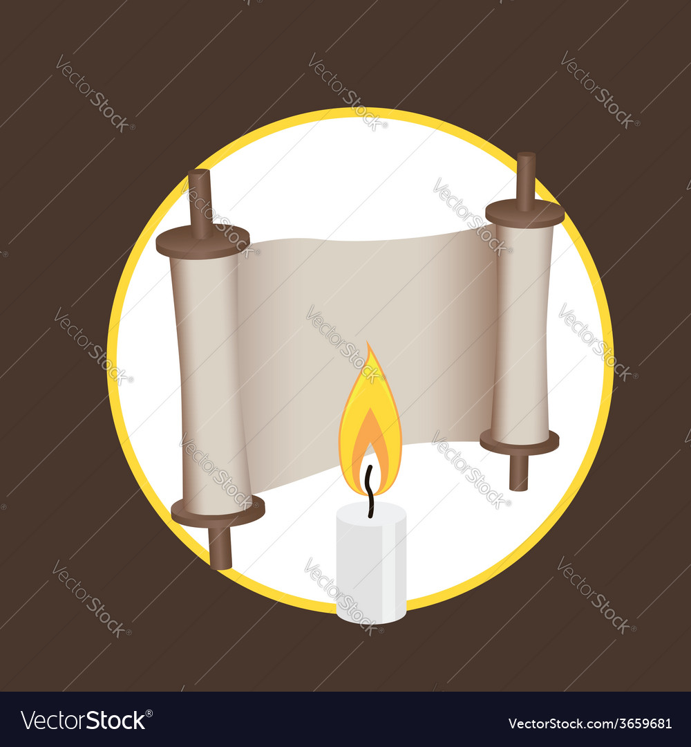 Ancient scroll and candle elements for logo and vector | Price: 1 Credit (USD $1)