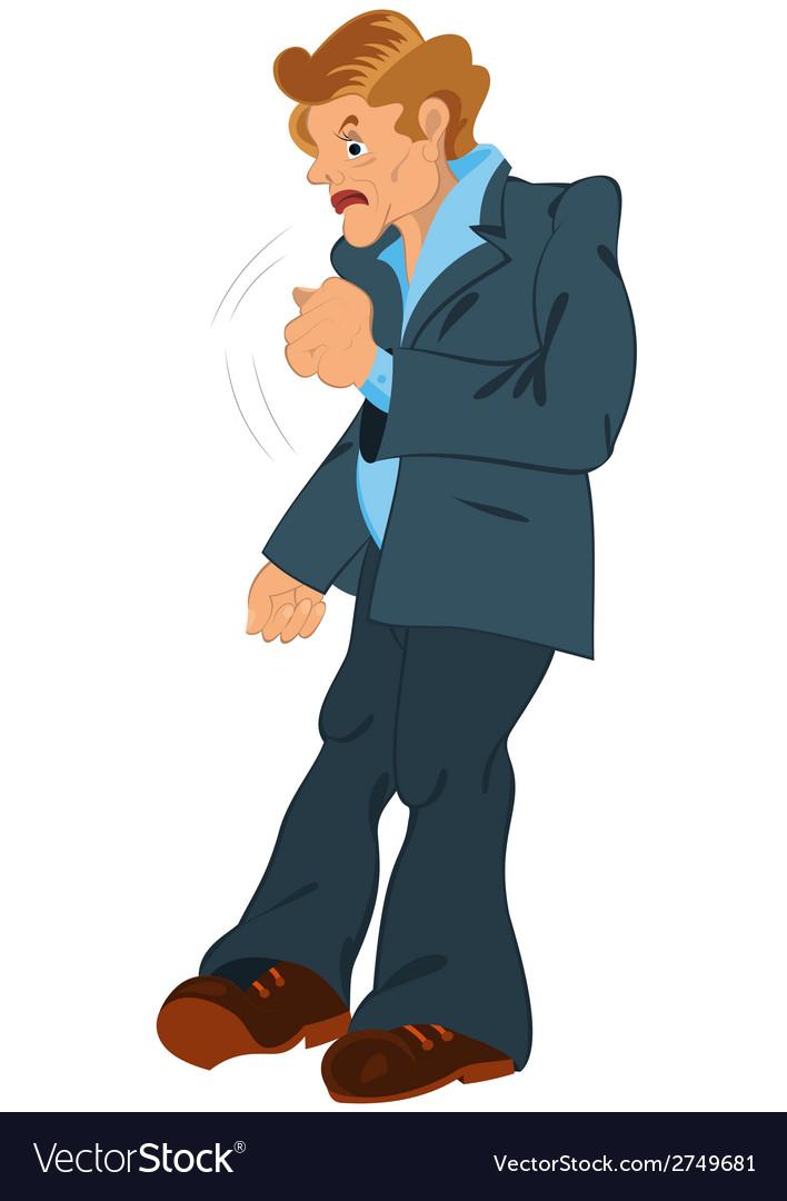 Cartoon man waving with fist vector | Price: 1 Credit (USD $1)