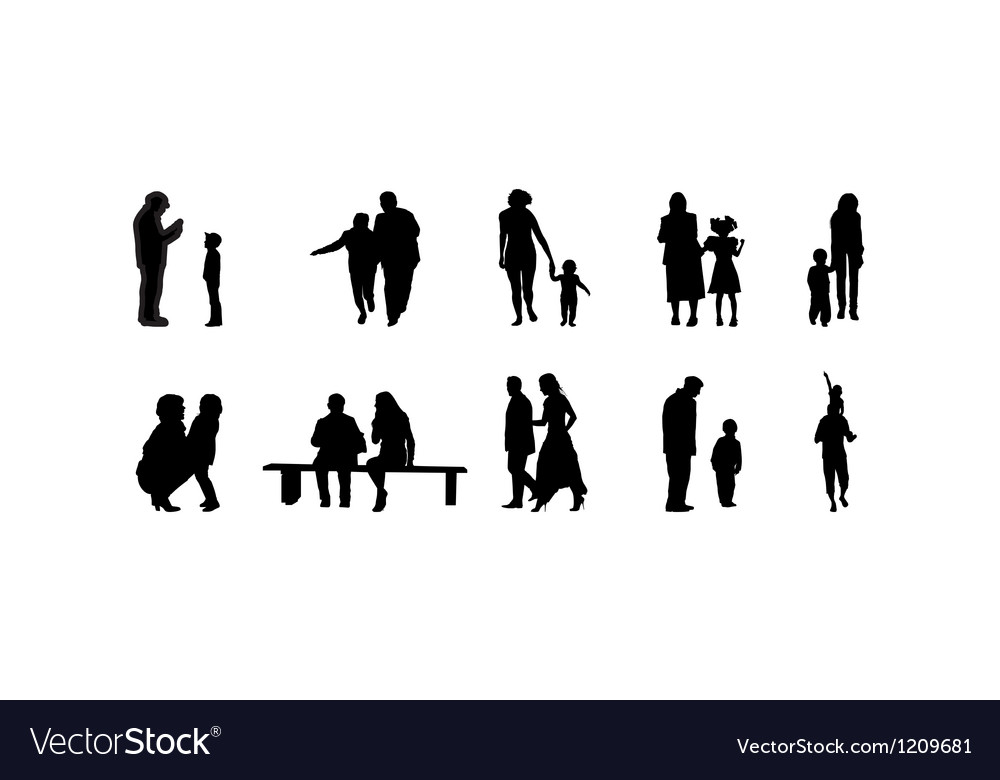 Different family silhouettes vector | Price: 1 Credit (USD $1)