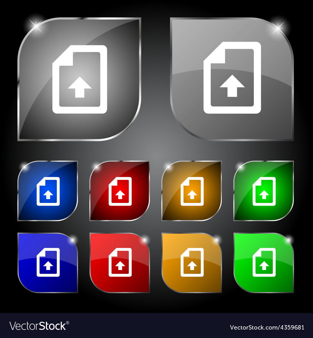 Export upload file icon sign set of ten colorful vector | Price: 1 Credit (USD $1)