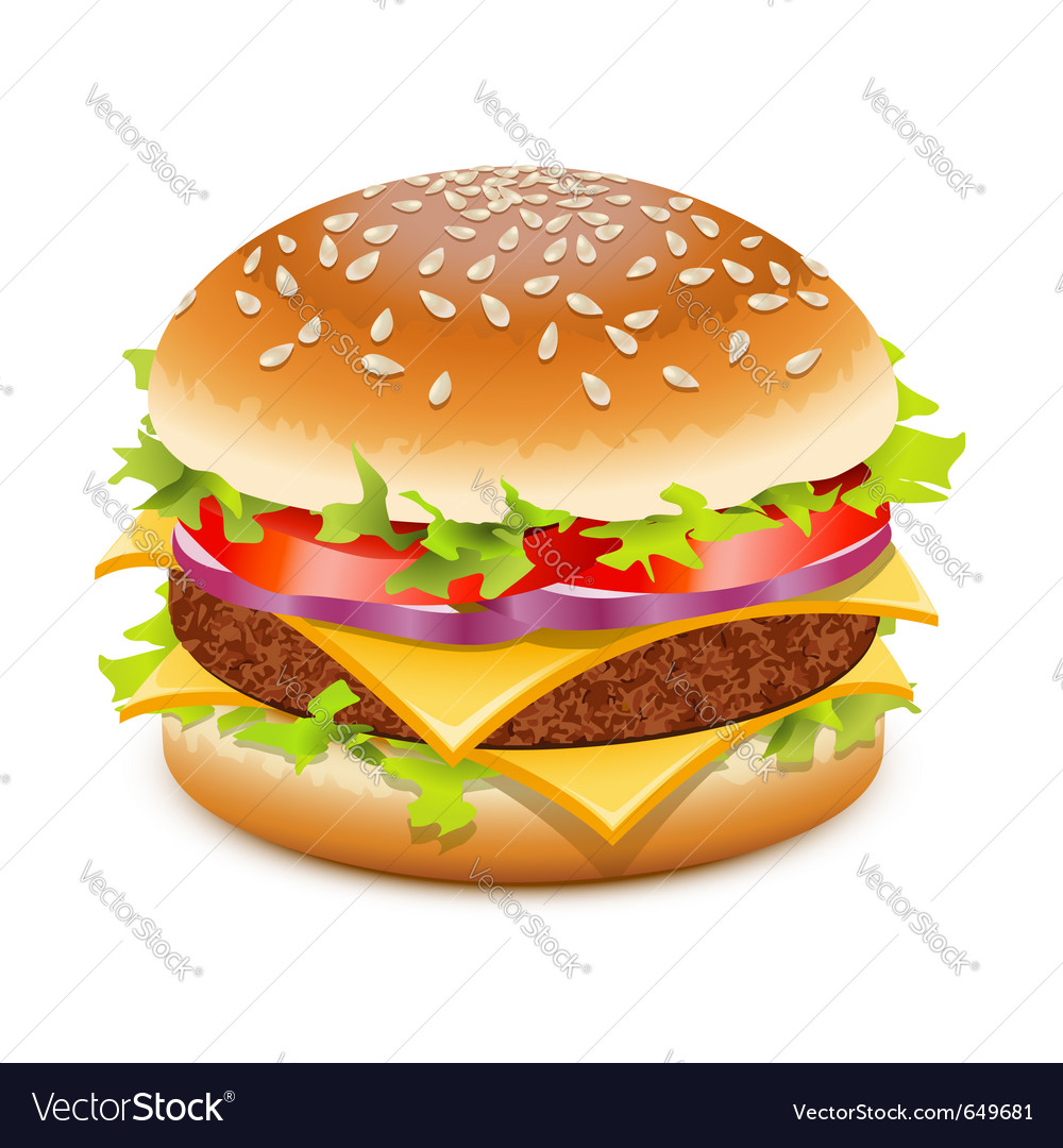 Hamburger with cheese vector | Price: 1 Credit (USD $1)