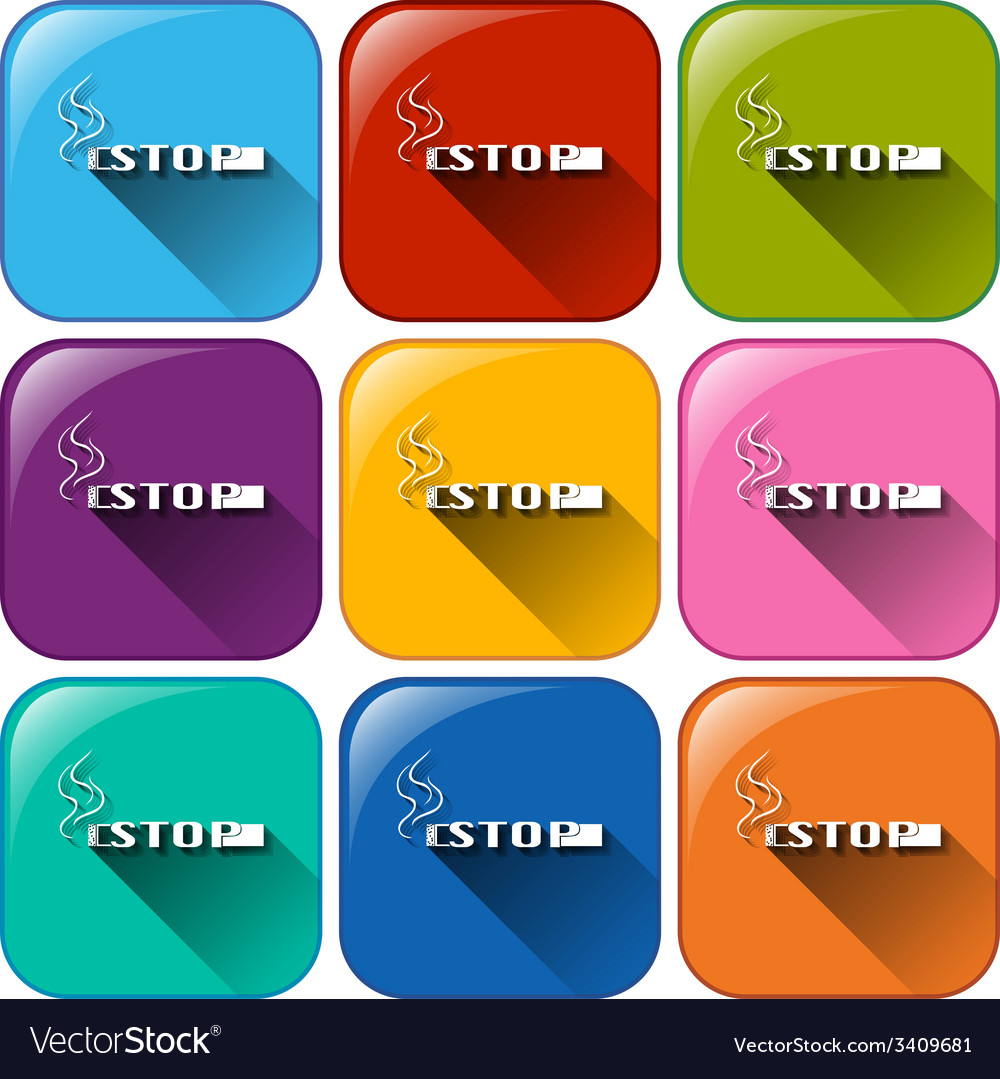 Rounded buttons with no smoking sign vector | Price: 1 Credit (USD $1)