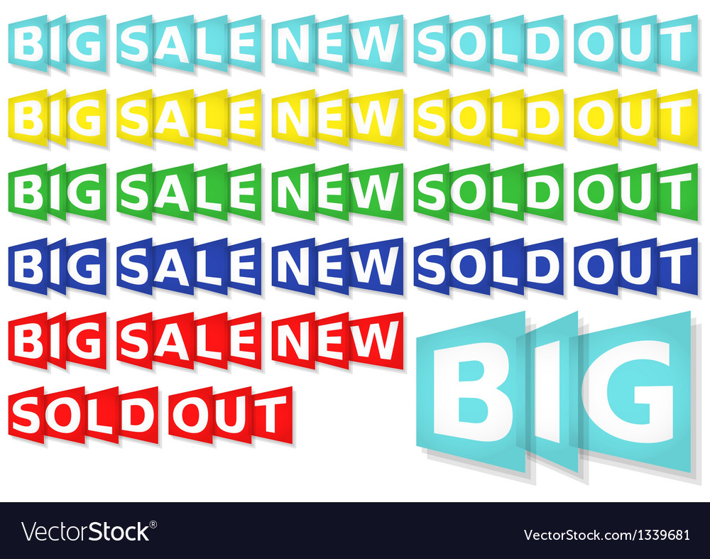 Set of general eshop messages in 5 colors vector | Price: 1 Credit (USD $1)