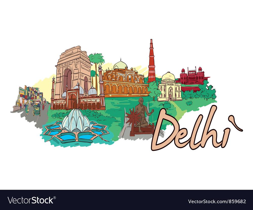 Delhi doodles vector | Price: 1 Credit (USD $1)