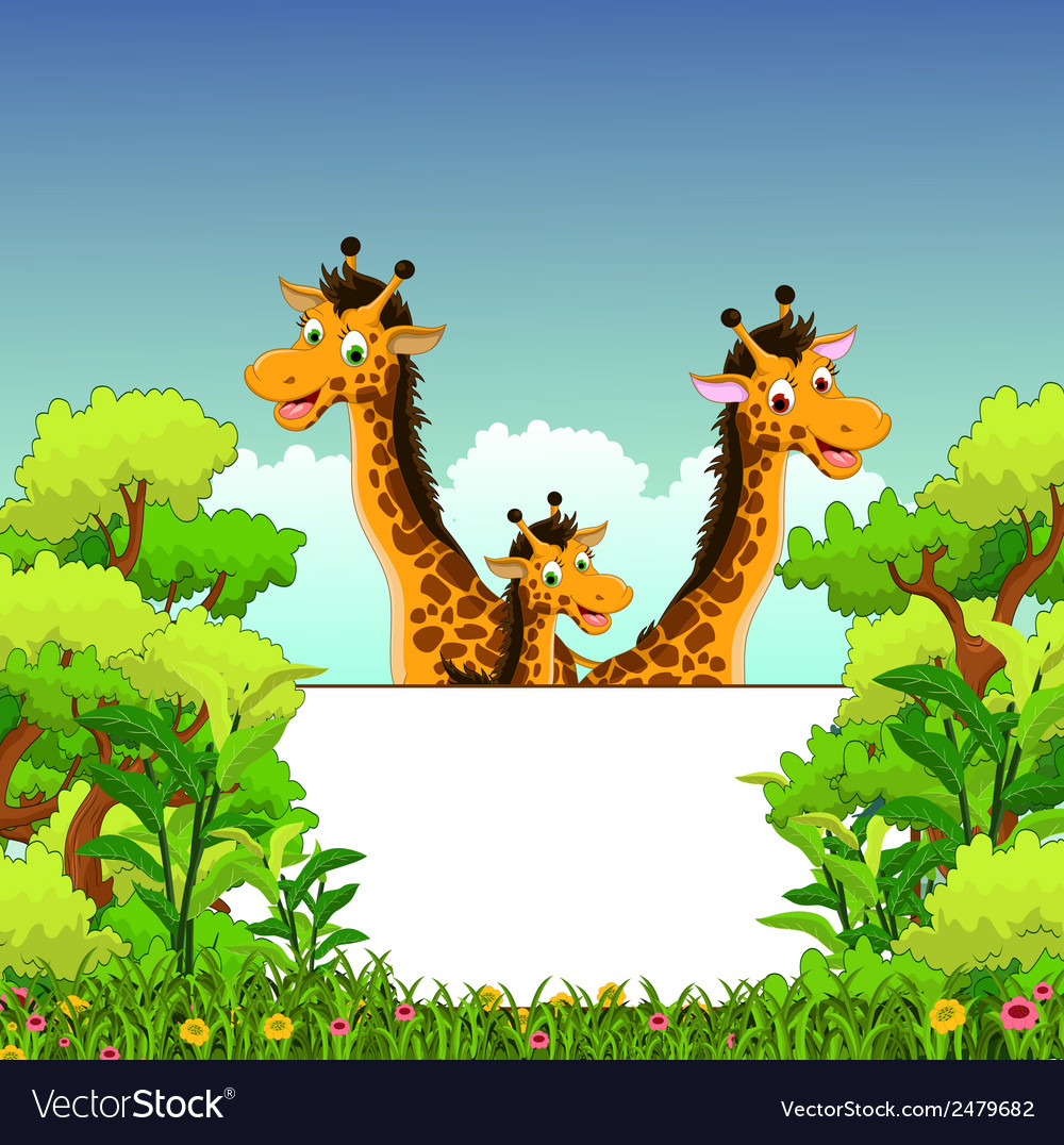 Family of giraffe cartoon with blank sign vector | Price: 1 Credit (USD $1)