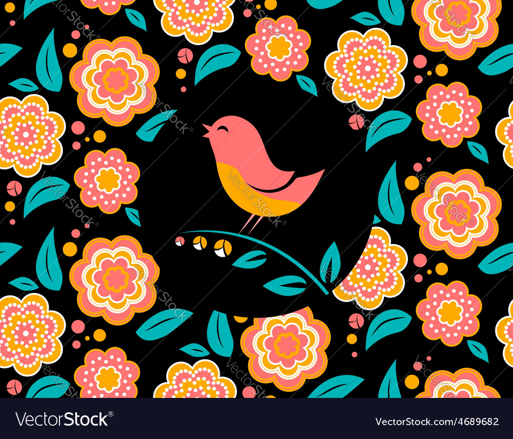 Flower invitation card with bird singing and vector | Price: 1 Credit (USD $1)