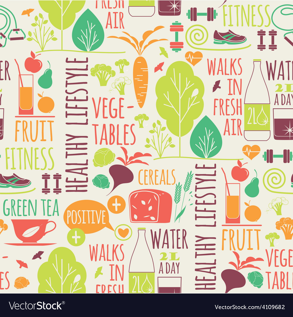 Healthy lifestyle seamless background vector | Price: 1 Credit (USD $1)